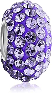 Solid Color Pave Crystal Spacer Bead Charm For Women Teen Fits European Charm Bracelet 925 Sterling Silver Core