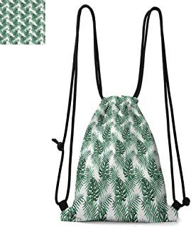 Leaf Printed Drawstring Backpack Palm Mango Banana Tree Leaves in Tropical Wild Safari Island Jungle Image Artwork Suitable for School or Travel W13.8 x L17.7 Inch Forest Green