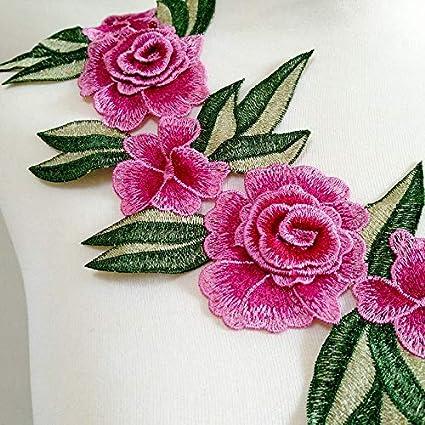 "Embroidered Quilted 2/""x6/"" Applique Soutache Silk Thread Flowers 1pc Kiwi Mauve"