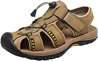 SHENLIJUAN Sandals for Men Outdoor  Water Shoes Lace Up Style PU Leather Hook&Loop Strap Outsole