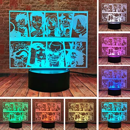 Einteiliges Team Ruffy Ace Sanji Roronoa Zoro Nami Tony Chopper 3D LED 16 Farben LED-Illusion ändern Nachtlicht Jungen Tisch Schlafzimmer Dekor Kind Kinder Baby Fans Weihnachtsgeschenke Spielzeug