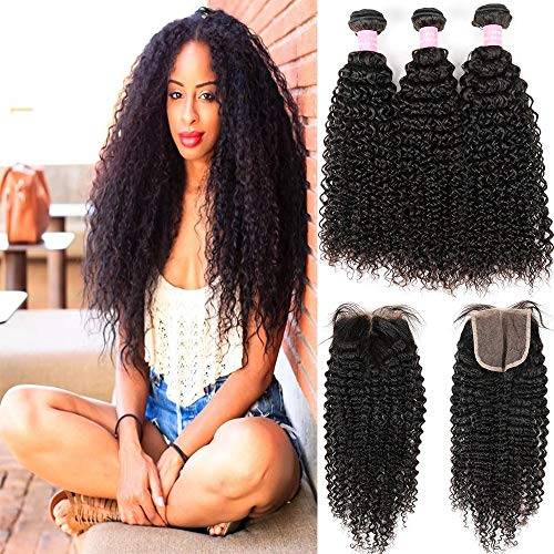 Virgin Curly Hair Bundles with Closure 8A Unprocessed Virgin Brazilian Human Hair Weave 3 Bundles Kinkys Curly Hair Bundles With Closure(18 20 22 +16)