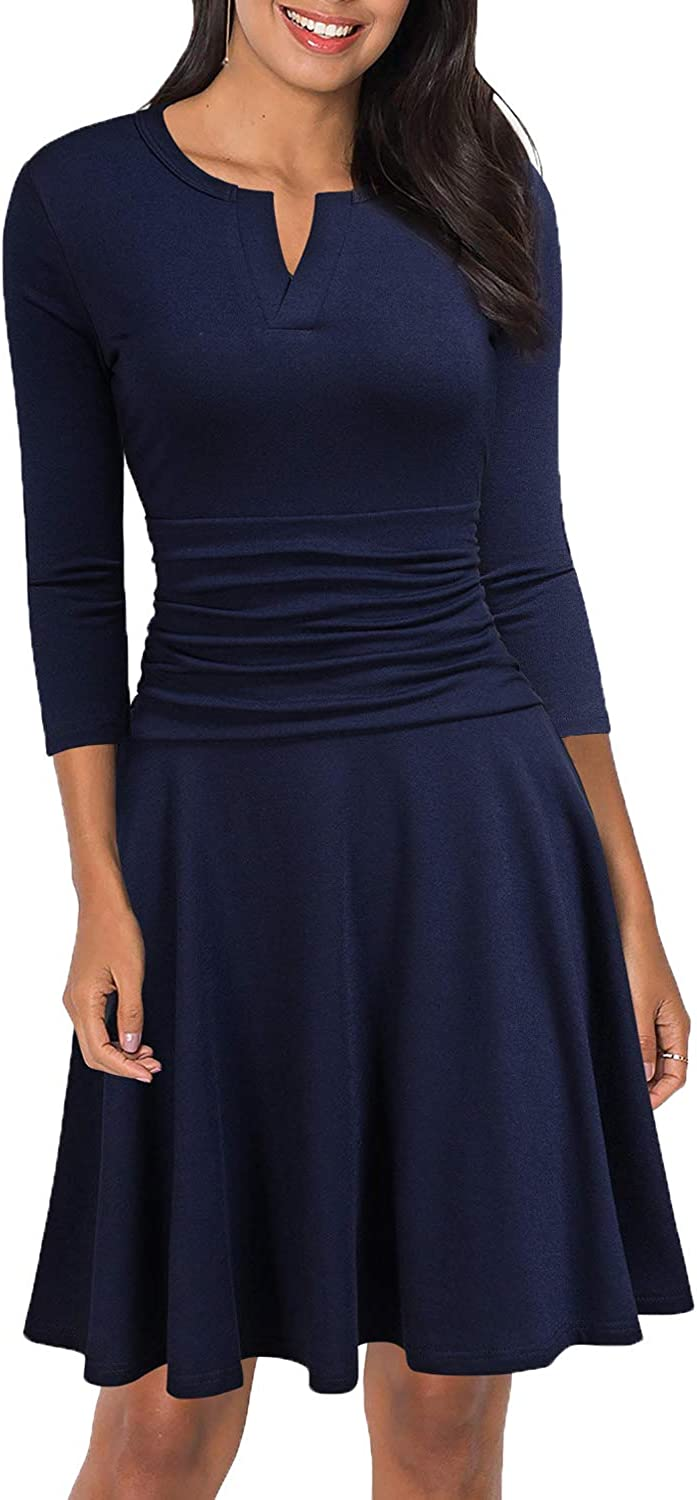 WOOSEA Women's Slimming 3/4 Sleeve Fit-and-Flare Crossover Tummy Control Dress