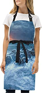 YIXKC Apron Sunset Over The Sea Adjustable Neck with 2 Pockets Bib Apron for Family/Kitchen/Chef/Unisex