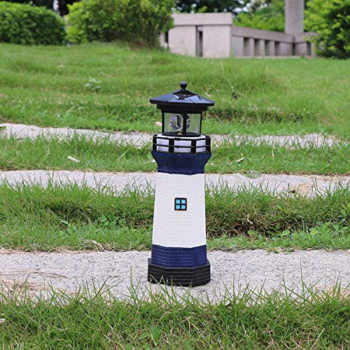 EH-GARDEN Solar Lighthouse Outdoor Decor Lawn with Rotating Lamp Blue, Pathway Lights LED Landscape Lights