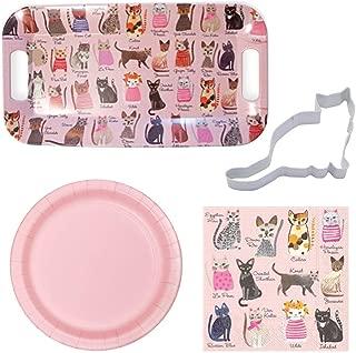 Cool Cat Lovers Entertaining Bundle: Melamine Serving Tray, Cocktail Napkins, Disposable Plates & Cookie Cutter with Bonus Recipe Bundle,