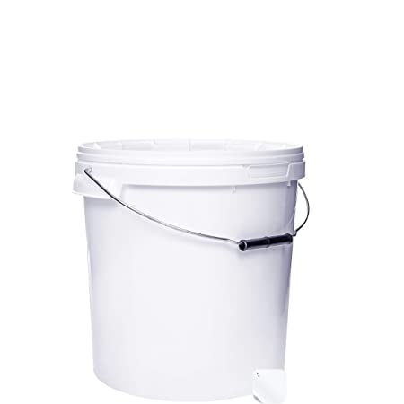5 seaux de 20 litres avec couvercle blanc, seaux à lait/stockage empilables, seaux à miel, seaux en plastique avec agrément alimentaire, récipients alimentaires, seaux vides pour farine, seaux à eau, 5 pièces