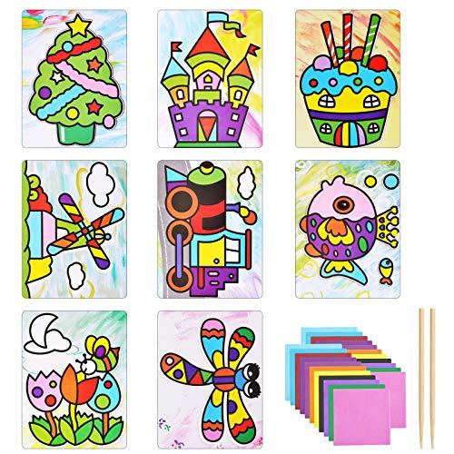 BELIOF Papier Mosaik Klebebilder zum Basteln Kinder Kreative Sticky Mosaik Set mit 9 Motivkarten und Farbige Seidenpapier Selbstklebende Knüddelbilder für Kinderlernspielzeug