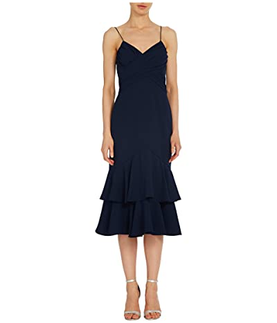 ML Monique Lhuillier Sleeveless Crepe Midi Dress w/ Ruched Bodice Ruffled Tiers (Navy) Women