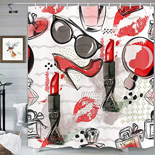MERCHR Fashion Makeup Shower Curtain, Red High Heels Lipstick Perfume Girly Decor Grey Shower Curtains for Bathroom, White Fabric Bathroom Curtain with Hooks 69x70 Inch