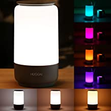 LED Table Lamp, HUGOAI Bedside Lamp, Nightstand Lamps for Bedrooms with Dimmable Whites, Vibrant RGB Colors and Memory Fun...