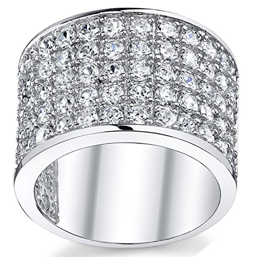 Ultimate Metals Co. David Beckham Sterling Silver Men's Championship Cubic Zirconia CZ Band Ring 15 MM