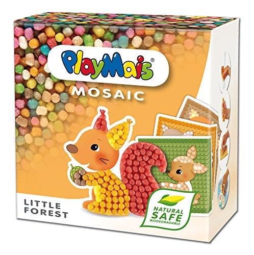 PlayMais MOSAIC Little Forest Kreativ-Set zum Basteln für Kinder ab 3 Jahren | Über 2.300 PlayMais & 6 Mosaik Klebebilder mit Waldtieren | Fördert Kreativität & Feinmotorik | Natürliches Spielzeug