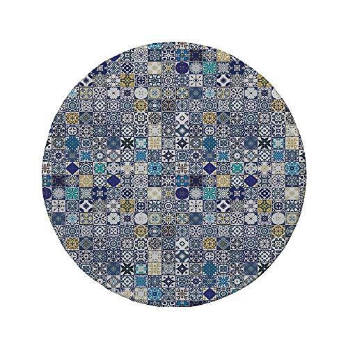 Rutschfreies Gummi-rundes Mauspad marokkanisch mediterrane quadratische Fliesenmotive Muster Vintage Traditionelle Kunstsammlung Dekorativ mehrfarbig 7.9