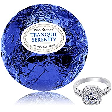 Bath Bomb with Ring Inside Tranquil Serenity Extra Large 10 oz. Made in USA (Size 7)