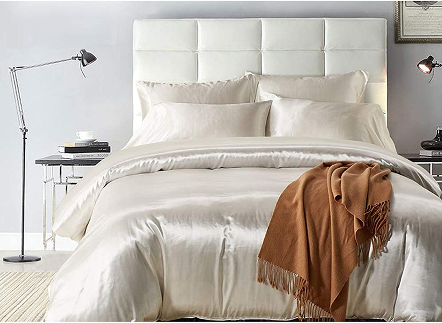 Bedding 3 Piece Duvet Cover Set Microfiber,Monochrome Softest Hypoallergenic Quilt Sets Comfy Breathable Washed Simple Cover-White Twin