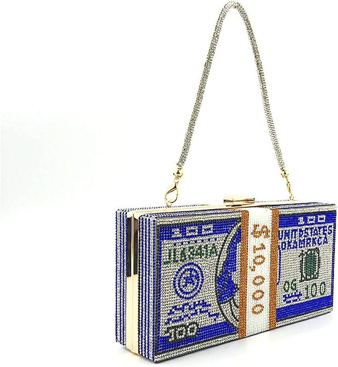 Women Rhinestone Dollar Bill Shoulder Bag Diamond Money Clutch Purse Bling Cash Mini Handbag of Wedding Evening Party