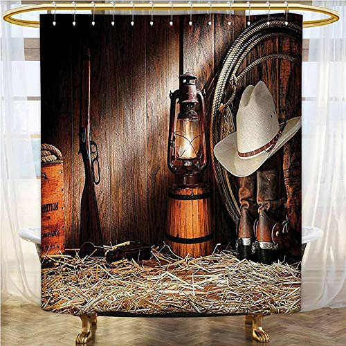 Western Decor Collection Polyester Fabric Shower Curtain 55x72 INCH Authentic Gear Straw Hat ATOP Genuine Leather Boots and Kerosene Oil Lantern Lamp for Kids', College Dorm Bathroom Dark Brown