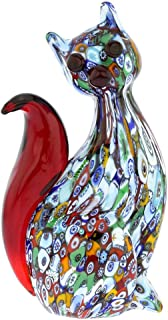 GlassOfVenice Murano Glass Millefiori Cat Sculpture