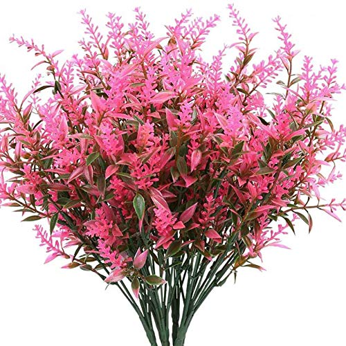 Fuyamp 6 Bundles Artificial Lavender Flowers Plants, Lifelike Fake Shrubs Greenery Bushes Bouquet for Indoor Outdoor Decor(Pink)