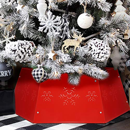 Blissun Metal Christmas Tree Ring, Christmas Tree Collar with Printed Snowflake, Willow Tree Skirt Base Stand for Christmas Tree Decorations (Red)