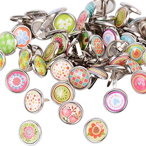 50 Stück Mini Brads Metall Musterklammern Musterbeutelklammern Verschlussklammern Klammern mit Rundkopf metall Bastelklammern für Scrapbooking Basteln DIY Warensendung