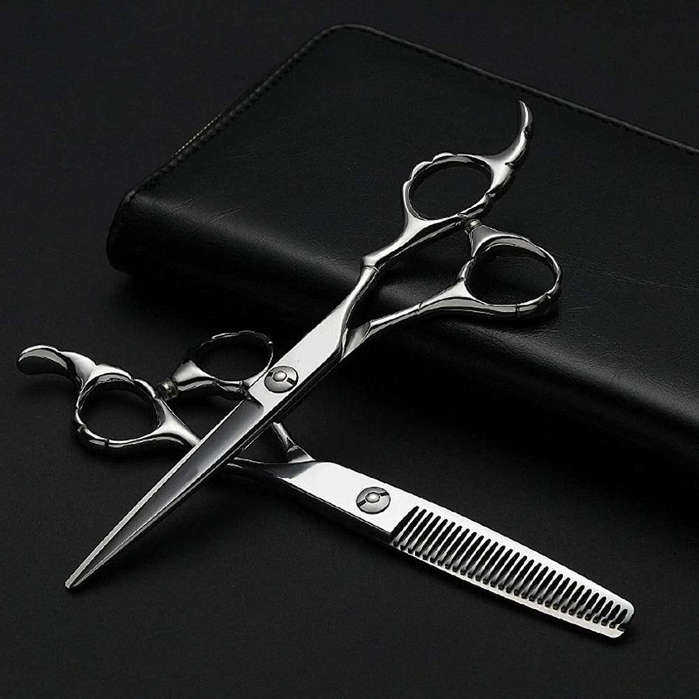 免疫浅い笑プロの理髪セット、フラット+歯シザー細い竹ハンドルはさみセット ヘアケア (色 : Silver)