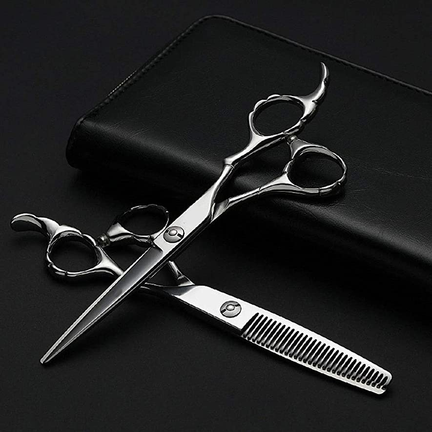 粘液フォーク代数プロの理髪セット、フラット+歯シザー細い竹ハンドルはさみセット モデリングツール (色 : Silver)