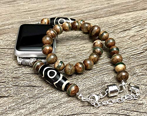 Unique Tibetan Beads Bracelet for Apple Watch Series 5 4 3 2 1 38mm 40mm 42mm 44mm Handcrafted Striped Dzi Beads Apple iWatch Band Dzi 9 Eyes Agate Jewelry Apple Watch Bracelet