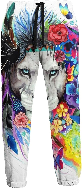 Men's Jogger Sweatpants Colorful Lion Flowers King 3D Loose Joggers Pants with Drawstring Long Pants