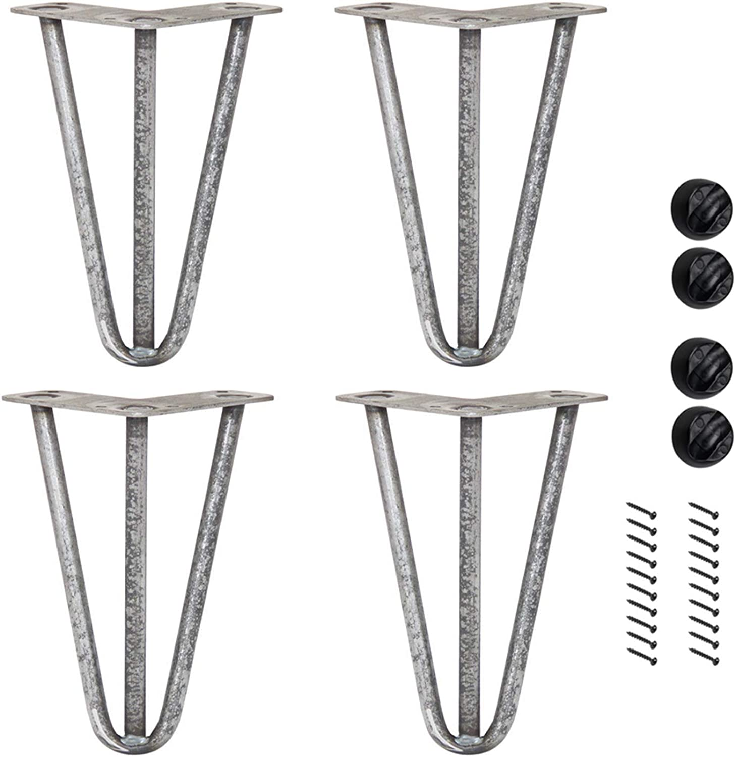 Bronkey 4PCS Vintage Industrial Style Hairpin Legs, 10  Three Rods 3 8  Solid Bar Construction Design, Raw Steel Metal Heavy Duty Table Leg, for DIY Living Room TV Stand Sofa Coffee Shop Decoration