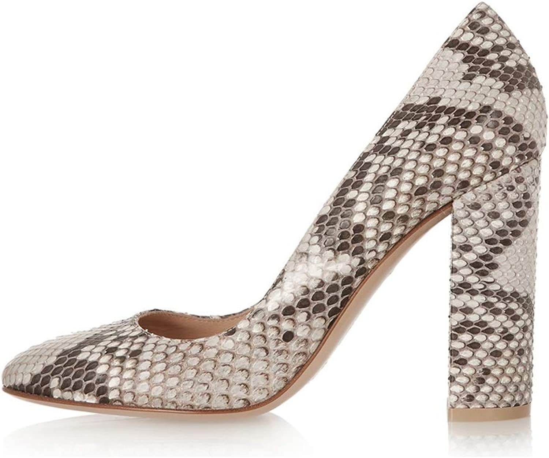 Sammitop Women's Round Toe Patent High Block Heel Pumps Chunky Heels Office Dress shoes