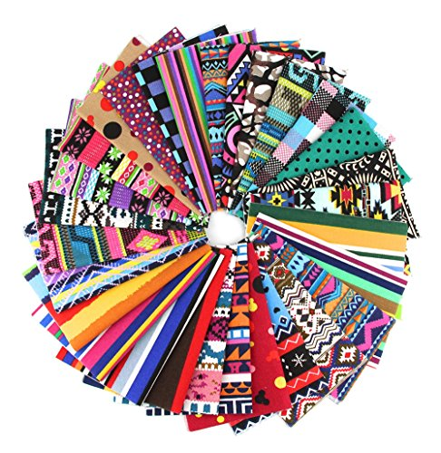 RayLineDo 15X Different Pattern Bohemia & Stripe Dot Style Canvas Patchwork Fabric Bundle Squares of 2025cm Quilting Scrapbooking Artcraft Project Collection One