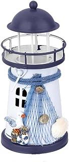 comprar comparacion WINOMO - Portavelas para velas de té, diseño náutico, color azul y blanco