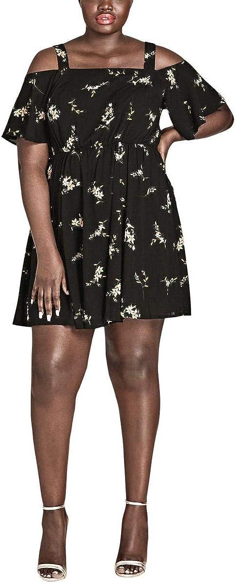 City Chic Women's Apparel Women's Plus Size Dress Aerial Frills