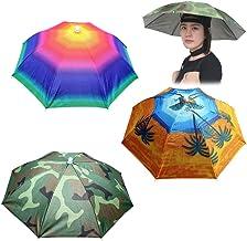 Sombrero de Sombrilla, 3 Piezas Sombrero de Sombrilla de Pesca con Banda Elástica, Sombrero de Sombrilla para Exteriores, Gorra de Pesca de Camuflaje, Sombrero de Sombrilla para Adultos & Niños