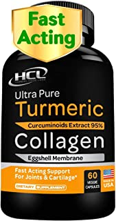 Collagen & Turmeric Curcumin Capsules - Extra Strength Joint Supplement - Eggshell Membrane w Naturally Occurring Glucosam...