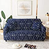 WXQY Fundas de celosía geométrica Funda de sofá elástica Funda de sofá de protección para Mascotas Funda de sofá de Esquina en Forma de L Funda de sofá Todo Incluido A5 3 plazas