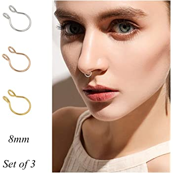 Amazon Com Fake Septum Nose Ring Fake Nose Rings 20g Hoop Nose Ring Gold Rose Gold Silver 8mm Non Pierced Clip Nose