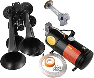 Train Horns Kit For Trucks,air Horn Kit Super Loud Awesome Easy Installation,150db 4 Trumpet 150 Psi 12v Compressor And 1.5 Gal Air Tank Train Horn Kit