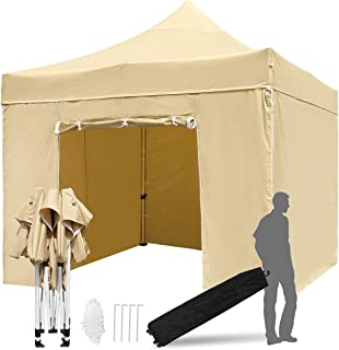 TopCamp 10x10 ft Pop up Canopy Tent with 40mm Hexagon Leg and Walls, Heavy Duty Outdoor Commercial Waterproof Tents with 4 Removable Walls Instant Sun Shelter (Tan)
