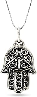 LeCalla Sterling Silver Jewelry Hamsa Hand Religious Pendant with Cable Chain for Women