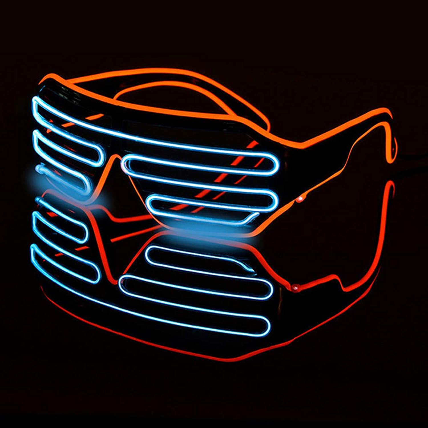 Double-colord Flashing LED Glasses, Neon Glow Bar Party EL Wire Eyeglass Rave Atmosphere Activing Props