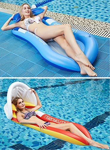 Cozywind Luftmatratze Wasser Pool Hängematte Aufblasbare Wasserhängematte Erwachsene mit Sonnenverdeck Matratzen Wasseriege Klappbare Pool Schwimmende Bett mit Kopfteil (160 * 90cm) (Blau)