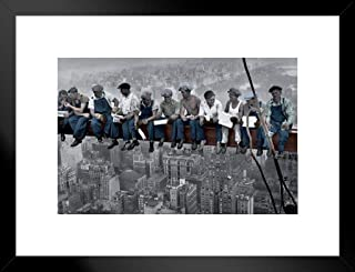 Pyramid America Charles C Ebbets Lunch ATOP A Skyscraper Crossbeam RCA Building Rockefeller Center Colorized Matted Framed Poster 26x20 inch