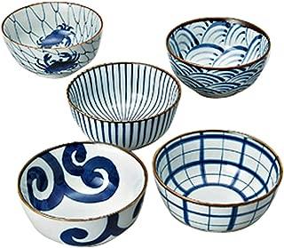 Saikai Pottery Traiditional Japanese Blue And White patterns Japanease Rice Bowls (5 bowls set) 31043 from Japan