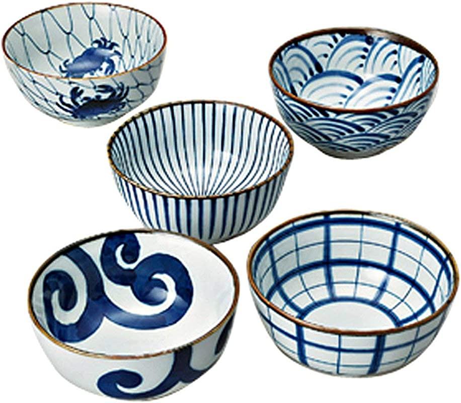 Saikai Pottery Traiditional Japanese Blue And White Patterns Japanease Rice Bowls 5 Bowls Set 31043 From Japan