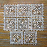 8 Pack Small Square Lace Doilies Table Placemat - Flower Embroidered Decorative Tablecloths Lace Mats for Crafts or Tableware, Neutral Gold Tones, 5.9 x 5.9 Inches (Netural Gold Tones)