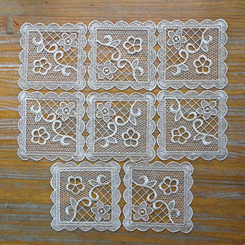 8 Pack Small Square Lace Doilies Table Placemat - Flower Embroidered...