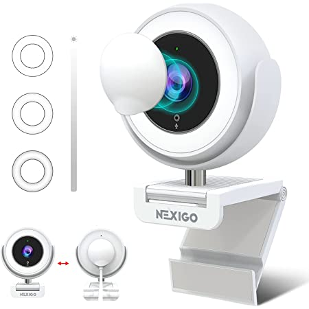 1080P Webcam with Ring Light and Software Control, 2021 NexiGo N660E Streaming Web Camera, Adjustable Brightness, Privacy Cover, Dual Noise Reduction Mics, for Zoom Skype Teams, White